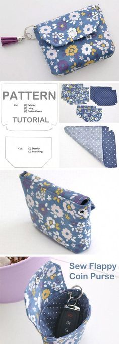 Coin Purse Tutorial DIY Flappy Coin Purse ~ Free tutorial for beginners. Ideas for sewing projects. Step by step illustration. DIY Flappy Coin Purse ~ Free tutorial for beginners. Ideas for sewing projects. Step by step illustration. Sewing Patterns Free, Free Sewing, Free Pattern, Pattern Sewing, Wallet Pattern, Diy Coin Purse Pattern, Diy Purse Patterns, Embroidery Patterns, Sewing Hacks