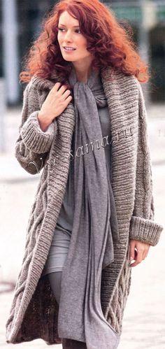 Длинное пальто с косами