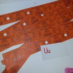 U vintage paper supplies lot ephemera 40 orange child theater tickets MI scrapbooking altered art mixed media
