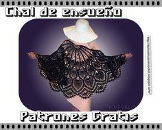 """Delicadezas en crochet Gabriela: Chal de ganchillo """"Dama elegante de negro"""""""