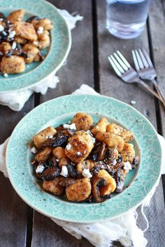 Crispy Brown Butter Sweet Potato Gnocchi with Balsamic Caramelized Mushrooms   Goat Cheese | halfbakedharvest.com