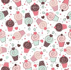 Cupcakes sweets seamless doodle vector pattern — Stock Vector #21713389