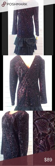 """Jessica Howard by Mitchell Rodbell Vintage Velvet Rare, vintage velvet party dress. Never worn! Store tags still attached. Jessica Howard by Mitchell Rodbell. STUNNING!  Bodice is the deepest, richest, darkest purple velvet with metallic paisley design. Skirt is pleated black satin w/ bow. Zips in back. See pic of tag for fabric content.  Size 6.  Bust 18.5"""" laying flat. Length armpit to hem 30"""".   🔹Please ask all questions before you purchase!  🔹Sorry, no trades or holds 🔹Please, no…"""