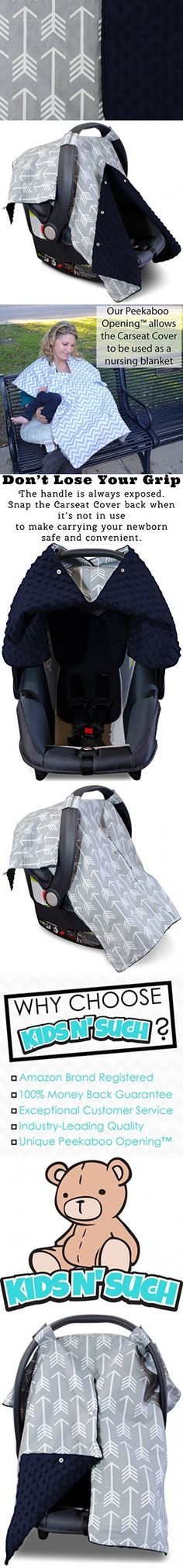 Premium Carseat Canopy Cover and Nursing Cover- Large Arrow Pattern w/ Dark Navy Minky | Best Infant Car Seat Canopy, Boy or Girl | Cool/ Warm Weather Cover | Baby Shower Gift for Breastfeeding Moms
