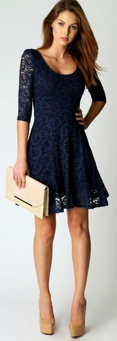 elegant lace dress dark blue