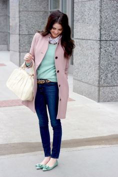 I normally wouldn't go for these colors but they are super chic and feminine (minus the ugly belt)!