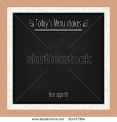Square menu chalkboard for cafes and restaurants with an inscription. Realistic wooden frame. Vector illustration