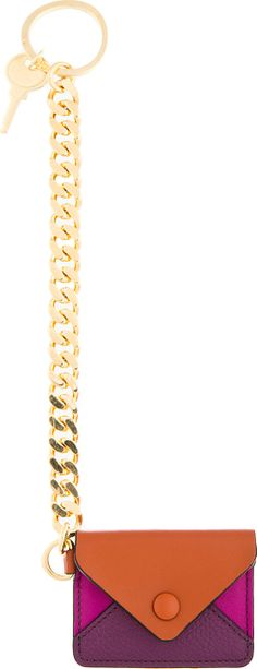 Chloé - Cinnamon Brown Leather & Brass Key Ring | SSENSE