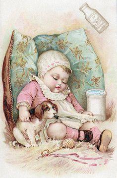 Fabric Block Baby Sleeps Dog Drinks Milk Repro by KatyDidsFabrics