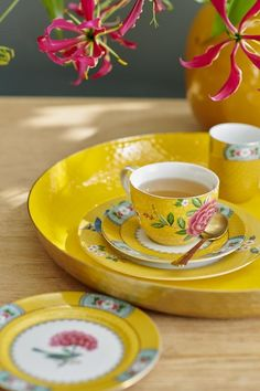 Pip Studio Blushing Birds Yellow Cappuccino cup and saucer– Daisy Park Yellow Cups, Breakfast Plate, Pip Studio, Soup Plating, Cappuccino Cups, Coffee Set, Carnival Glass, Cup And Saucer Set, Cake Plates