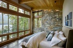like this for a master - not huge, no sitting area, just a bed with a view, and maybe one interesting wall