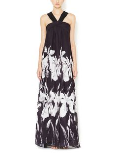 Graphic Halter Strap Gown from Halston Heritage on Gilt $216