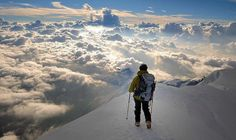 Climbing above the clouds.
