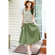 $13.31 Elegant Short Sleeve Stripes T-Shirt   Elastic Waist Skirt Twinset For Women(With Belt)