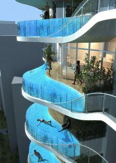 una piscina in terrazzo