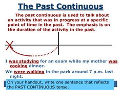 The Past Continuous    The past continuous is used to talk about an activity that was in progress at a specific point of t...