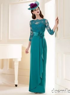Sexy turquoise Lace qpplique chiffon Long Evening Dress Elegant illusion Long Sleeve Evening gown 2015 mother formal party gowns