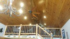 Cedar log railing with hickory spindles