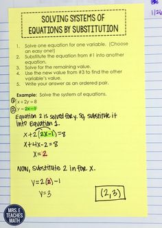 Solving Systems of Equations by Substitution Interactive Notebook Page