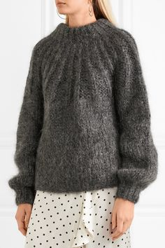 GANNI | Julliard open-back mohair and wool-blend sweater | NET-A-PORTER.COM