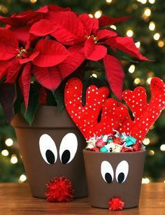 Reindeer Flower Pots - Happy-Go-Lucky Have some fun crafting this holiday season and make these adorable Reindeer Flower Pots. Use them as a planter or fill them with candy. Homemade Christmas Gifts, Christmas Crafts For Kids, Christmas Projects, Holiday Crafts, Holiday Fun, Christmas Holidays, Christmas Decorations, Reindeer Decorations, Reindeer Craft