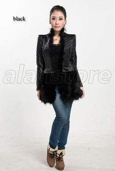 2013 Latest Style Sheepskin Fur Overcoat For Women, Real Fur Overcoat With Detachable Lower Hem And Fox Fur Collar On Hot Sale