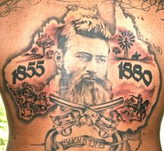 It is one of the things you can't help but notice in Australia: the image of the bushranger Ned Kelly. It is there on tea towels and car seat covers, tattooe. Back Tattoos, Love Tattoos, Tattoo You, Tatoos, Australian Tattoo, Australian Icons, Cartoon Rooster, Aboriginal Education, Survival Knots