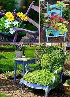 Use old chairs as flower pots.