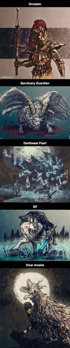 Illustrations from Dark Souls and Bloodborne