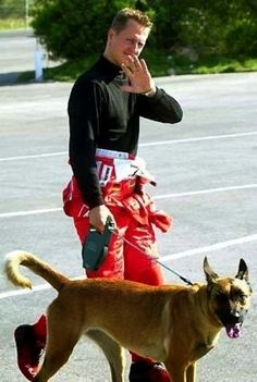 Michael Schumacher and Floh, a stray dog adopted in Brazil
