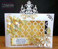 "Angela Clerehugh – 5"" x 7"" Card – Die'sire Edge'ables Classic Chandelier – Centura Pearl Card – Core'dinations Pastel cardstock – Sara Davies Signature Floral Delights Pretty Petals, Leafy Flourish & Ornate Trellis – Collall Gel Glue – Collall Tacky Glue – Collall Strass - Distress Inks (Antique Linen & Fossilized Amber) – Versamarker – Holographic Embossing Powder – Gems - #crafterscompanion"