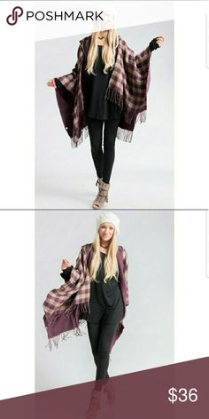 """Mauve Purple and Cream Shawl/Poncho Little fringe strings hanging down from ends. Has a hoody and is 100% acrylic. Made in China. No arm holes, but perfect for fall/winter cool days! 102""""X59"""" Size: One size Jackets & Coats Capes"""