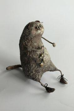 Papier mache cat figurine, Papier mache art doll, Papier mache Cat with glasses and fish, Animal sculpture