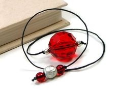 Book Thong Beaded Bookmark Red Silver Book Cord by TJBdesigns
