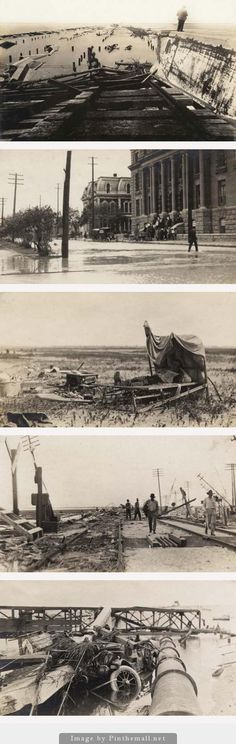 GALVESTON, AGAIN:  The storm of the 20th century hit Galveston, Texas, in 1900. Fifteen years later another devastating hurricane hit the island and Texas cost. Shown Top to Bottom: destroyed causeway, flooded streets and the County Courthouse, a man on a cop where his home stood, mangled Sante Fe RR line and a view of pipes, poles, a bridge and a submerged car.