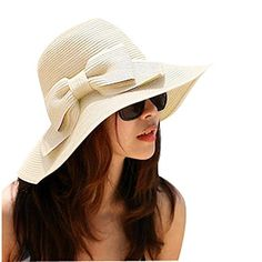 LA HAUTE Women s Foldable Bowknot Floppy Straw Sun Hat Wide Brim Beach Sun  Visor Hat Cap Color Beige  Amazon.co.uk  Sports   Outdoors 0cae9731fec5