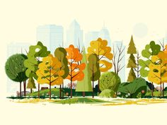 illustration art Fall in the City building park wood pine nature flower grass foliage skyline tree leaves Art And Illustration, Doodle Drawing, Fall City, Art Design, Design Elements, Oeuvre D'art, Game Art, Vector Art, Watercolor Art