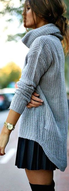 #street #style / oversized turtleneck knit