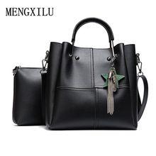 a58621fd3889 Women 2 pcs set Handbags Female Tote Bag Tassel Women Solid Shoulder Bags  Women Messenger Bag
