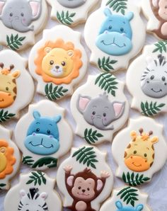 Baby Jungle Animal Cookies - One Dozen Decorated Sugar Cookies (Birthday Sugar Cookies) Fancy Cookies, Cute Cookies, Royal Icing Cookies, Cupcake Cookies, Sugar Cookies, Party Cupcakes, Giraffe Cookies, Cookies Decorados, Baby Shower Cookies