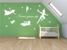 XL Peter pan decal never grow up walldecal mural by Quirkyworks33, £50.00