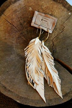 Leather Feather Long Bone Earrings Lambskin and fringe by Winisha, $65.00