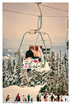 Winter Snow Wedding at Timberline Lodge on a ski lift skilift http://www.evrimgallery.com. THIS IS SO CUTE. RIDE THE LIFT DOWN FOR PHOTOS, THEN CHANGE INTO SKI GEAR AND SPEND THE DAY SKIING WITH YOUR WEDDING PARTY!!!
