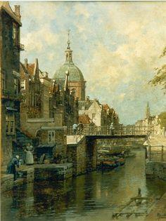 Johannes Christiaan Karel Klinkenberg (Den Haag 1852-1924) Gezicht op de Oudegracht te Utrecht - Kunsthandel Simonis en Buunk, Ede (Nederland).