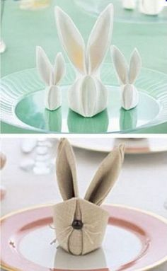 DIY pliage serviette Plus Napkin Folding, Hoppy Easter, Deco Table, Animal Party, Paper Napkins, Diy Projects To Try, Easter Crafts, Diy And Crafts, Table Decorations