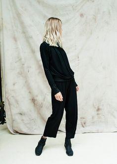 LOUS spodnia czarne bawełna szerokie basic casual