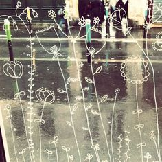 window ... Window Signs, Window Art, Window Markers, Spring Drawing, Boutiques, Chalk Markers, Shop Interiors, Land Art, Wire Art