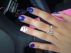 My baseball nails(: go rangers! Baseball Nail Designs, Baseball Nail Art, Softball Nails, Baseball Crafts, Baseball Quotes, Baseball Shirts, Toe Nail Designs, Acrylic Nail Designs, Acrylic Nails