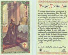 Saint St Camillus Prayer for Sick Healing Holy Card HC121 Catholic ...
