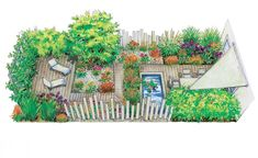 Ein moderner kleiner Garten mit zwei Holzdecks, einem Teich und pflegeleichter Bepflanzung